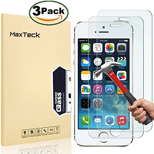 3-pack-iphone-5-5s-se-screen-protector-maxteck-026mm-9h-tempered-glass-shatterproof-screen-protector
