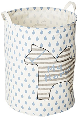 Sea Team Foldable Large Cylindric Cute Pony Canvas Fabric Storage Bin Storage Basket Organizer for Kid's Room Toy Storage, Laundry Hamper for Blouse T-shirt Underwear etc., Color#3 by Sea Team (Toy Storage Bin)