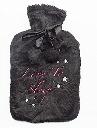 "Ladies Soft Black Plüsch Wärmflasche & Cover ""Love to Sleep"""