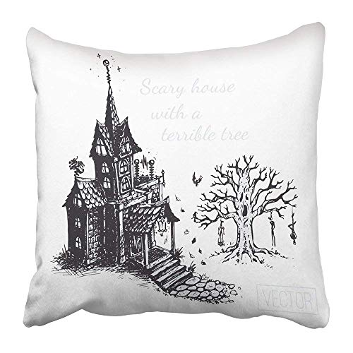 Yuerb kissenbezüge Black Autumn The Old Scary House and Tree Sketch Drawn with Ink Vintage Design for Halloween Gray Polyester 18 X 18 Inch Square Hidden Zipper Decorative Pillowcase