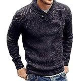 Riou Pullover Herren Strickpullover Winter Warm Langarm Slim Fit Muskel Basics weater Sweatshirt Pulli Winterpullover (XL, Grau)