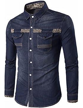 La sustitución de los hombres camiseta Cowboy otoño casual elegante vaquero y camisa de manga larga masculina