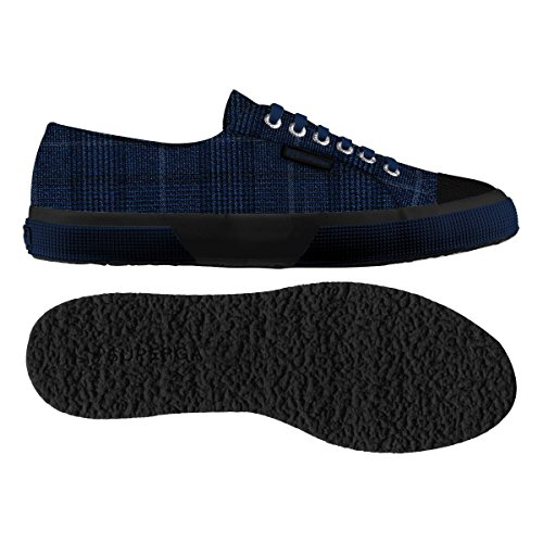 Superga 2750-fabric Gallesfglm, Pompes à plateforme plate homme Blue Indigo-Navy