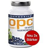 OPC Traubenkernextrakt Kapseln Hochdosiert - NEUE Formel: 600mg Reines OPC pro Tagesdosis (95% OPC-Gehalt) Ohne Magnesiumstearat + 30mg Vitamin C - 120 vegane OPC-Kapseln made in Germany von GloryFeel