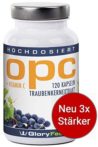 OPC Traubenkernextrakt Kapseln Hochdosiert - NEUE Formel: 600mg Reines OPC pro Tagesdosis (95% OPC-Gehalt) Ohne Magnesiumstearat + 30mg Vitamin C - 120 vegane OPC-Kapseln made in Germany von GloryFeel Test
