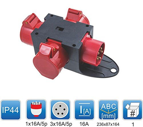 CEE Adapter 3 x 16A / 400 V Stromverteiler Baustromverteiler Verteiler