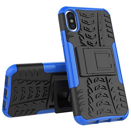 Apple iPhone X Hülle, Voguecase Hybrid Hülle Schutzhülle Case Cover (Kickstand/Rot) + Gratis Universal Eingabestift Kickstand/Blau