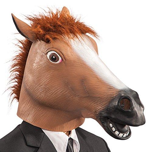 Máscara de goma Eva caballo en bolsa con encabezado, color marrón
