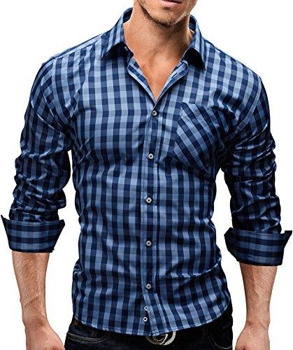 Merish Hemd Slim Fit 5 Farben Größen S-XXL Herren Modell 44 Dunkelblau-Hellblau