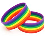 Kylewo Braccialetti 2 Pezzi Rainbow Gay Pride Lesbian LGBT Gay - Ladies Mens, Silicone