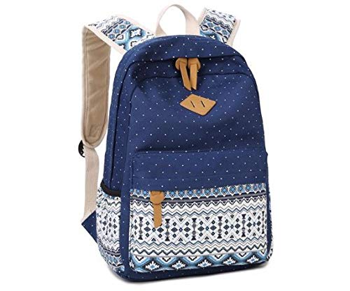 sagrach Canvas 4 in 1 Girls Laptop Bag in Backpack for College and College, 1 pc (Navy Blue) Image 8