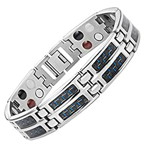 Willis Judd Mens Four Element Titanium Magnetic Bracelet with Blue Carbon Fiber and Free Link Removal Tool
