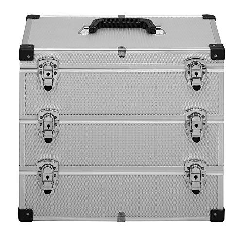 anndora® Werkzeugkoffer 32 Liter Angelkoffer Etagenkoffer 3 Ebenen Silber Alu - 2