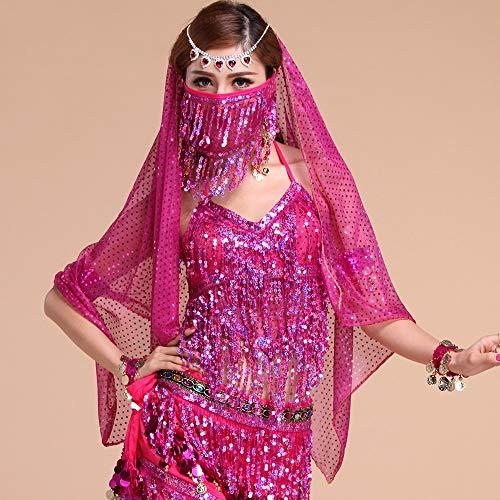 XGWD Professionel Damen Bauchtanz Kostüm -7 Stück Kurze Ärmel Sequenziert Indischer Tanzsatz Performance-Kleidung,Pink