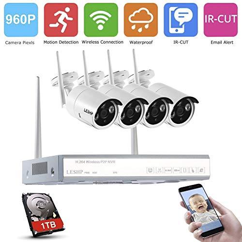 Wlan Kamera Videoüberwachung HD Home, YKS CCTV NVR Kit + 4x720P wifi Überwachungs Überwachungsset WLAN Netzwerk Außen IP Überwachungskamera, mit IR Nachtsicht, 1TB HDD, Indoor/Outdoor Wetterfest Home Security-kamera-kit