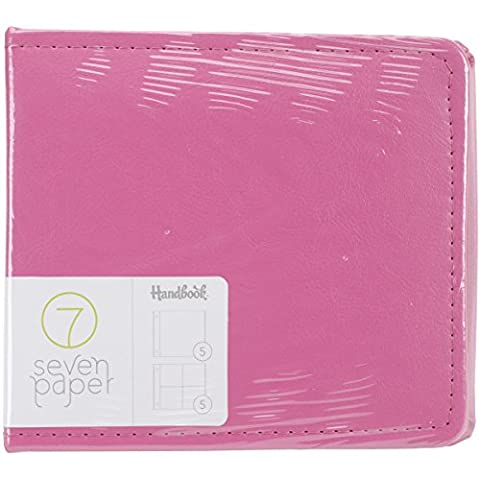 American Crafts Faux Leather Seven Paper Handbook Made In A Snap D-Ring Album 4-inch x 4-inch, Pink