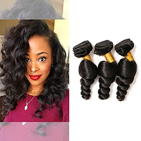Brazilian Loose Wavy 3 Bundles Quick Weave Hair Extensions Human Hair Weave No Tangle mix length Natural Color(12 14 16inches)