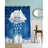 A.Monamour Azul Fondos Blancos Nieve Copos De Nieve Nublados Cielo Árboles Paisaje Arte Diseño Imprimir Navidad Fiesta Tema Tela Impermeable Tela De Poliéster Cortinas De Ducha De Tela Poliester Antimoho 180X180 Cm / 72X72 Pulgadas