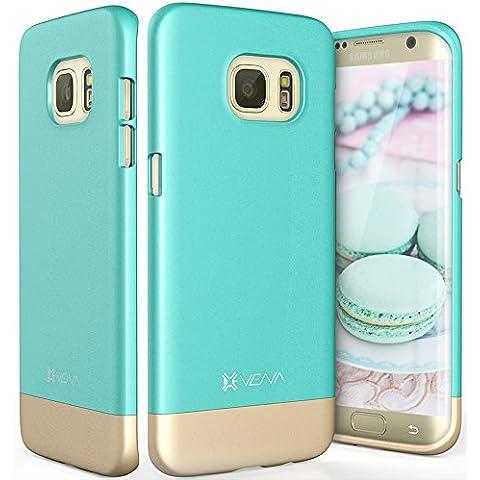 Samsung Galaxy S7 Edge Funda, Vena [iSlide][Two- Tone] Ultra Ajuste Delgado del Estuche Rígido para Samsung Galaxy S7 Edge (Verde Azul / Oro Champan)