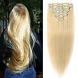 Clip in Extensions Echthaar Haarverlängerung 8 Tressen 18 Clips Remy Human Hair günstig 45cm-70g(#24 Mittelblond)