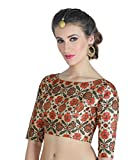 Studio Shringaar Women's Poly Silk Digital Printed Multi-colour Ready Made Saree Blouse With Boat Neck.