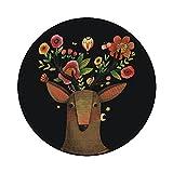 BAGEHUA Maßgeschneiderte Rosa Mädchen Teppich Rund Cartoon Kinder Waschen Rutschfeste Matten Wohnzimmer Schlafzimmer Nachttisch Benutzerdefinierte Größe, Durchmesser 160 cm Runde, Black Deer
