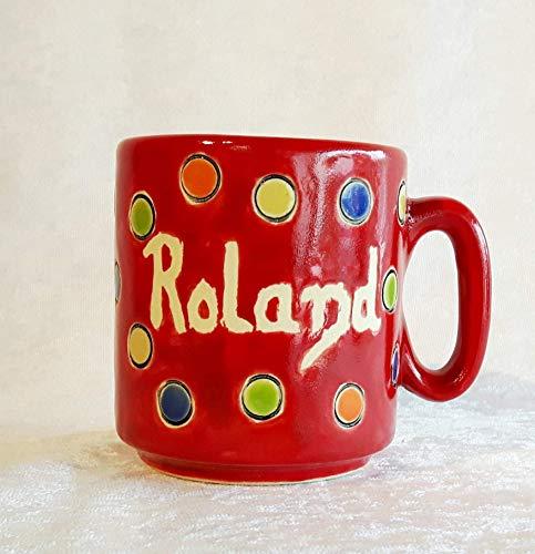 Namenstasse in rot mit bunten Punkten/Keramik/H ca.9 cm/D ca.8 cm/Inhalt ca.300 ml -
