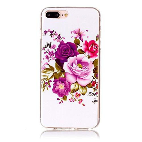 iPhone 7 Plus Coque,iPhone 7 Plus Silikon Case,iPhone 7 Plus Cover - Felfy Ultra Slim Ultra Mince Flexible Souple Soft Gel TPU Silicon Case Clair Cover Coque Housse Couleurs de Motifs Anti Scratch Cou Pivoine