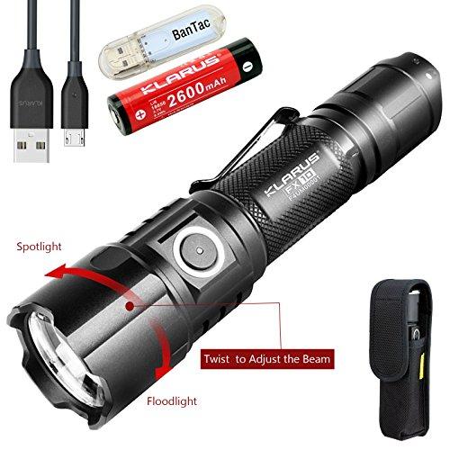 Klarus FX10 EDC Taschenlampe Einstellbarer Fokus Taschenlampe CREE XP-L HI V3 LED 1000 Lumen USB Wiederaufladbar Taktisch Taschenlampe Licht, Twist für Spot oder Flutlicht, mit 18650 Akku und BanTac USB Lampe