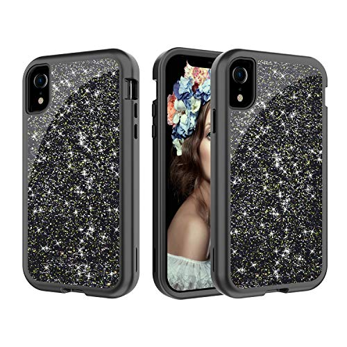 für iPhone XR, luxuriös, glitzernd, strapazierfähig, Hybrid, robust, stoßfest, für iPhone XR 15,2 cm (6 Zoll), schwarz ()