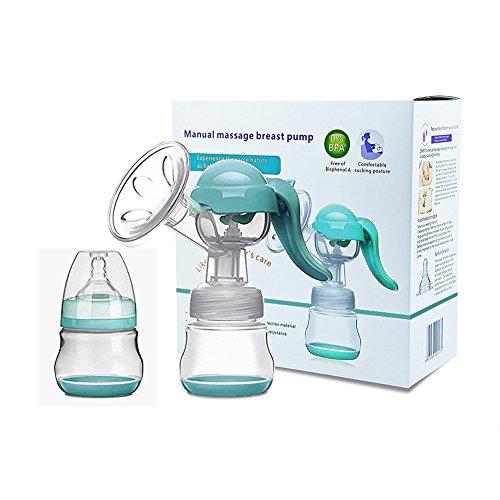 Manuelle Milchpumpe - Reise Unerlässlich Verstellbare Silikon Hand Brustpumpe Stillen Lebensmittelqualität BPA frei Milch Brust Pumpen mit Deckel (Grün)