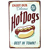 Sobotoo Vintage Metal Poster Tin Plaque Iron Painting Sign Cake Snack Hamburger Pattern European And American Retro Iron Wall Art Decor Pictures For Bar Gift Ktv Cafe Home Pub (B)