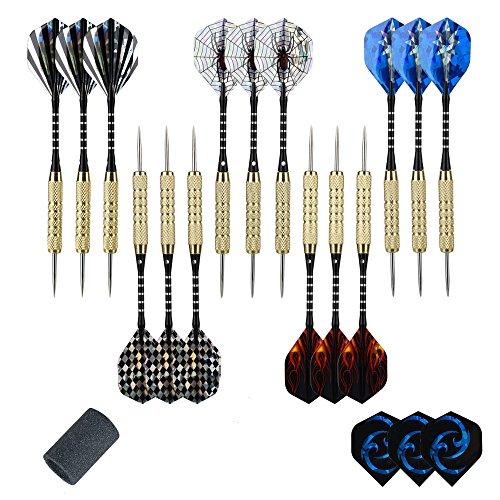 moonlux 15 Stück Steel Darts Pfeile Set, Steeldarts Dart Pfeile mit Metallspitze, Aluminium Schaft, 33 Flights, 18g, mit Point Spitzer