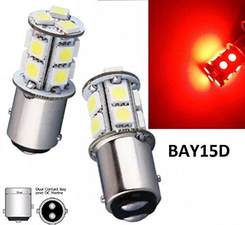 Preisvergleich Produktbild ROT - RED 2x BAY15D 12V Auto Lampen LED mit 13 POWER- SMD (zweifadenbirne Sockel) LED Soffitte Autobirnnen für Blinklicht Rücklicht Bremslicht INION®
