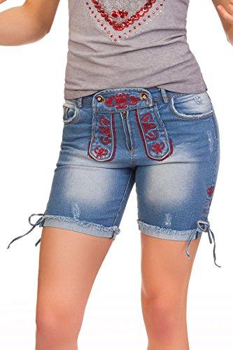 Trachten Damen Jeanshose kurz - ELAYLA - denimblau, grau Denimblau