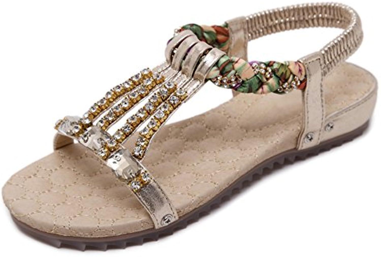 ZHIRONG Sandalias de diamantes de imitación de verano sandalias punta abierta banda elástica conjunto sandalias...