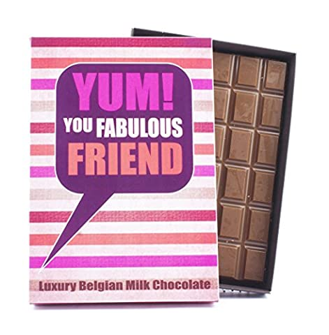 Novelty Chocolate Gift for Lovely Friend 85 Gram Best Luxury Belgian Milk Boxed Bar Box of Chocolates for a Lovely Friend Women Girl Girlfriend A Fun Greetings Card Present for