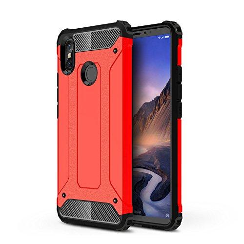 TANYO Xiaomi Mi MAX 3 Heavy-Duty Hybrid Double Armor Phone Case, Extraíble 2 en 1 a Prueba de Golpes Robusto y Durable Fashion Ultra-Thin Funda Protectora Roja.