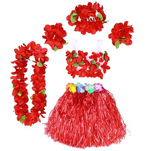 Amosfun 6 Stücke Hawaii Tropical Hula Gras Dance Rock Blume Leis Armbänder Stirnband Halskette BH Set Hawaiian Party Kostüm und Luau Outfit 40 cm