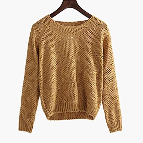 YUYU Donne coreane lana moda casual manica lunga girocollo maglione taglio , f , khaki