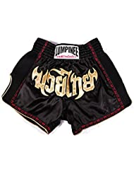 LUMPINEE Retro negro cortocircuitos tailandeses Muay Kick Boxing Fight LUMRTO-010 Varios colores rojo/azul Talla:XL