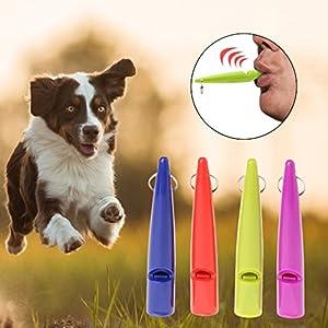 FURU (4pcs pour Animal Domestique Chien Sifflet Loud Portable Flûte Plastique Couleurs aléatoires