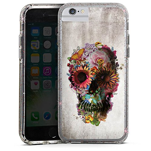 Apple iPhone 7 Bumper Hülle Bumper Case Glitzer Hülle Totenkopf Skull Flowers Bumper Case Glitzer rose gold