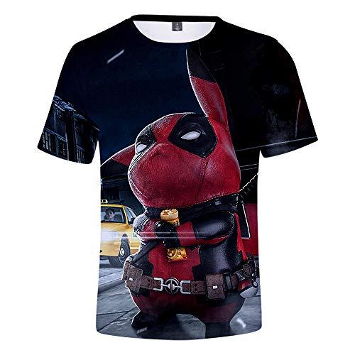 WQWQ Erwachsene Kinder Rundhals T-Shirt Fairy Twilight Kurzarm Shirt Big Detective Pikachu Halbarm Geschenk,XL -