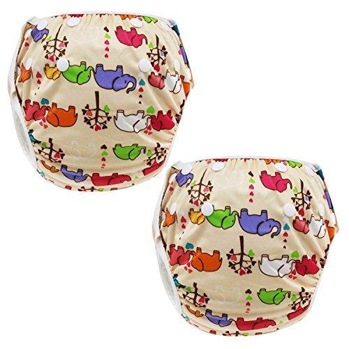 Gosear 2pcs Riutilizzabili Bambino Piscina Pannolini Pantaloni Regolabile Impermeabile Infante Bambino Pannolino Copertura Casuale Stile