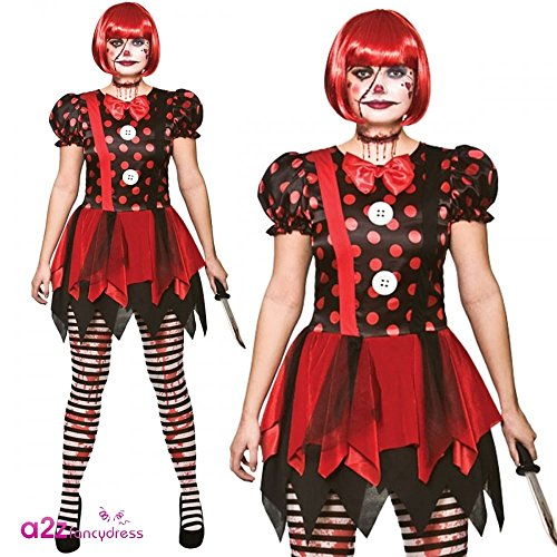 Horror Clown - Ladies Adult Costume Lady: L (UK:18-20)
