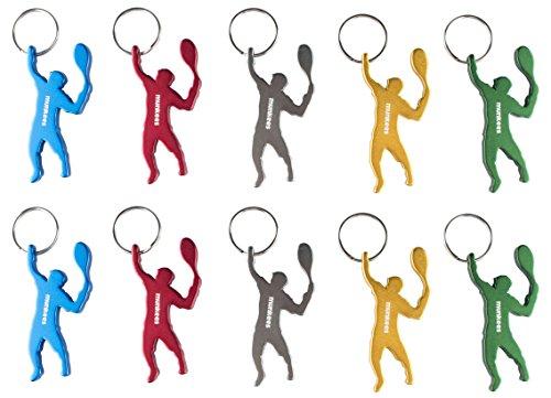 munkees 10 x Schlüsselanhänger Tennis-Figur Flaschenöffner, Sport-Fans, 10er Pack, 3492 -
