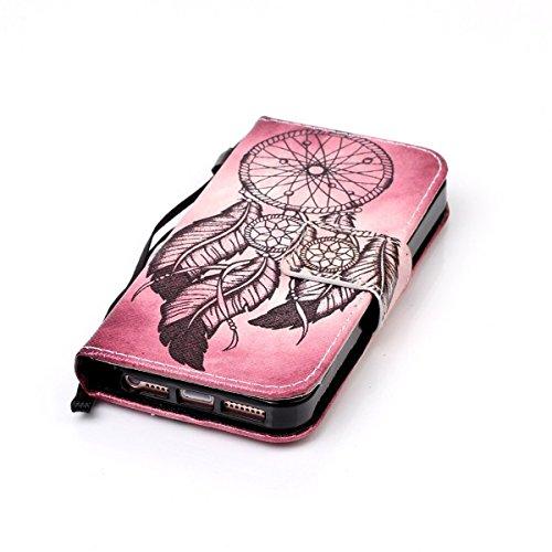 Coque iPhone SE, Étui en cuir pour iPhone 5s, Lifetrut [Cash Slot] [Porte-cartes] Magnetic Flip Folio Wallet Case Couverture avec sangle pour iPhone SE 5S [Prune] E209-Attrapeur de rêves