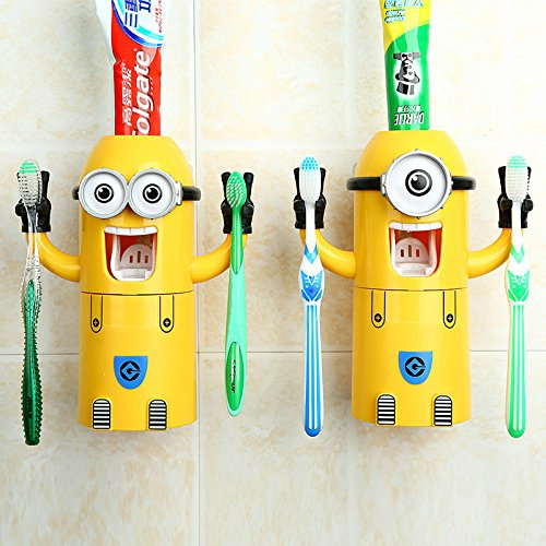 HIgh Quality Cartoon Minions press automatic toothpaste dispenser toothbrush holder cup triple bathroom home gifts for kids A051