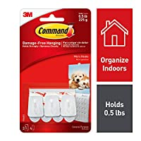 Command Micro Hooks with Command Adhesive Strips (1 Pack of 3 Hooks)